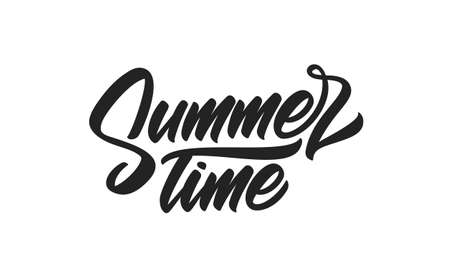 Vector Brush type lettering of Summer Time isolated on white background.