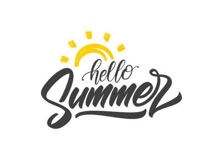Vector Handwritten lettering of Hello Summer with doodle sun.