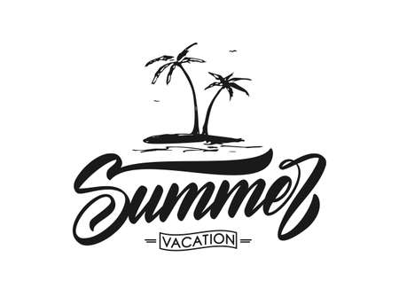 Vector Hand drawn palm trees on island with handwritten calligraphic lettering of Summer.