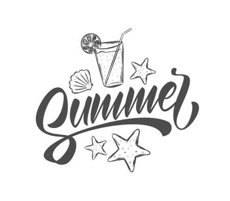 Vector illustration: Handwritten brush lettering of Summer with hand drawn beach elements. Starfish, shells and lemonade.