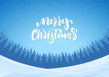 Vector illustration: Handwritten lettering of Merry Christmas on winter forest background.