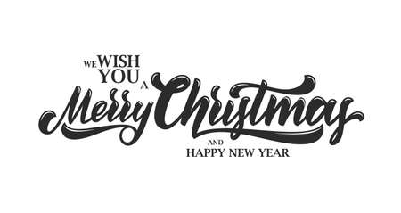 Vector illustration: Typographic lettering composition of Wish You a Merry Christmas and Happy New Year