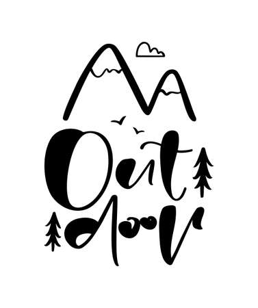 Vector illustration: Hand drawn brush lettering composition of Outdoor adventure with doodle mountains.