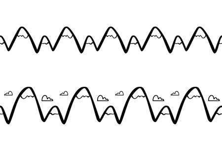 Vector Hand drawn doodle seamless mountains peaks