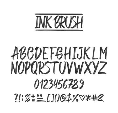 Vector illustration: Hand Drawn ink brush grunge Font. English Alphabet letters on white background. Numbers and punctuation. Stock Illustratie