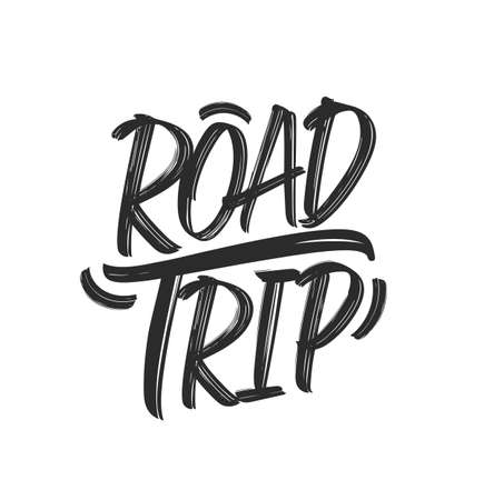 Vector illustration. Vintage grunge Hand drawn typographic lettering of Road Trip on white background. Stock Illustratie