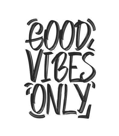 Vector illustration: Type hand lettering composition of Good Vibes on white background
