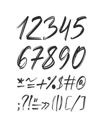 Handwritten calligraphic numbers with punctuation on white background.