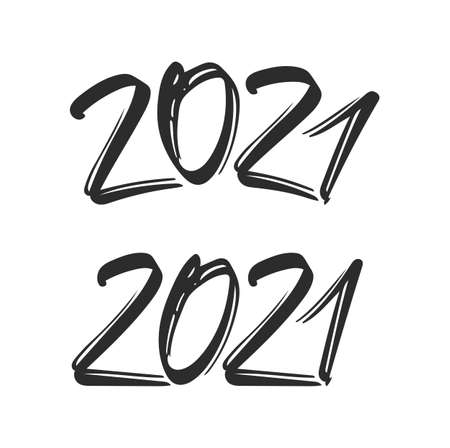 Hand drawn set of numbers 2021. Happy new year template.