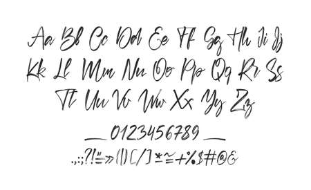 Handwritten calligraphic brush full Font. English Alphabet letters on white background. Numbers and punctuation.