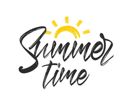 Hand drawn calligraphic textured brush lettering of Summer Time with sun.