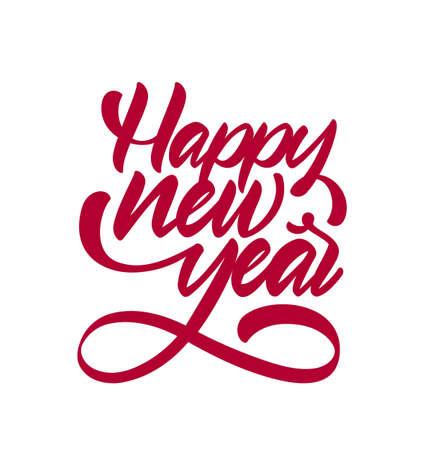 Handwritten calligraphic brush type lettering of Happy New Year.