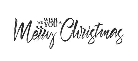 Typographic hand lettering composition of Wish You a Merry Christmas.
