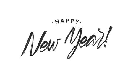 Handwritten calligraphic brush lettering of Happy New Year on white background.
