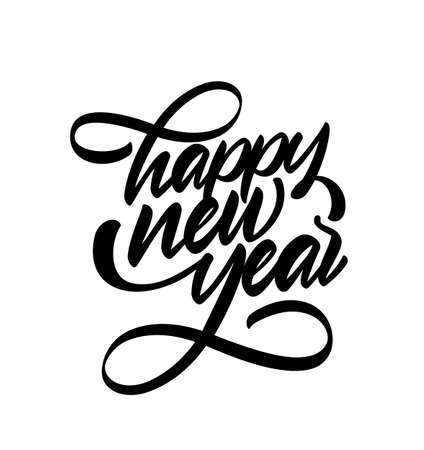 Handwritten calligraphic brush type lettering of Happy New Year on white background.