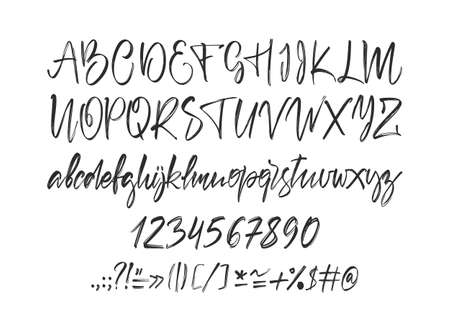 Handwritten calligraphic brush Font. English Alphabet letters on white background. Numbers and punctuation.