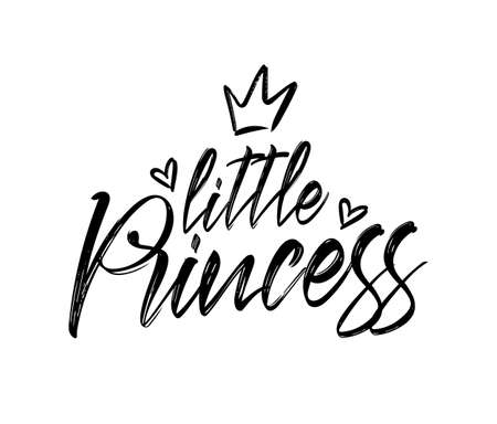 Calligraphic lettering print of little Princess with crown and hearts. Kids t-shirt design.