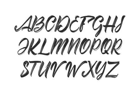 Brush font. Handwritten English Abc alphabet on white background.