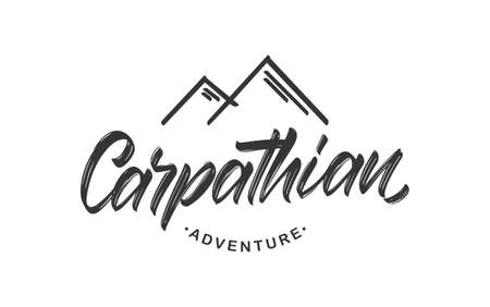 Vector illustration: Handwritten calligraphy lettering of Carpathian Adventure. Mountains badge with peaks.