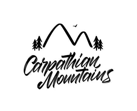 Vector illustration: Handwritten calligraphy lettering of Carpathian Mountains. Hand drawn mountains doodle.
