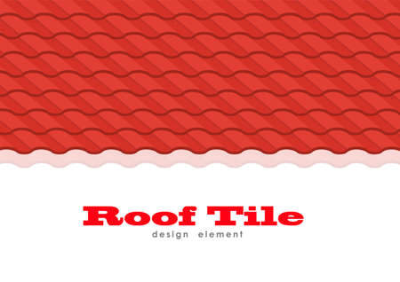 Vector illustration: Red corrugated metal tile element with space for text.