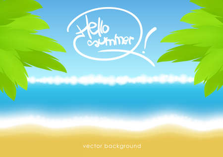Vector illustration: Summer tropical background with beach, sea and palm leaves