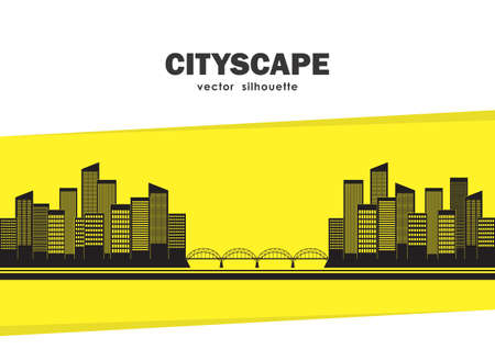 Vector Silhouette of two cities connected by bridge on yellow background with space for text. Isolated Cityscape. Vettoriali