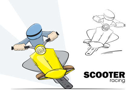 Vector illustration: Hand drawn scooter racing. Man rides on moped on white background.