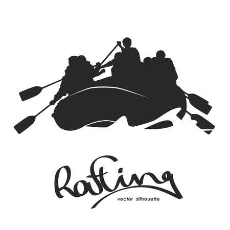 Vector illustration: Silhouette of rafting team on river Vetores