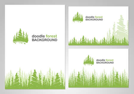Vector illustration: Three variants of layout design with background of doodle forest.