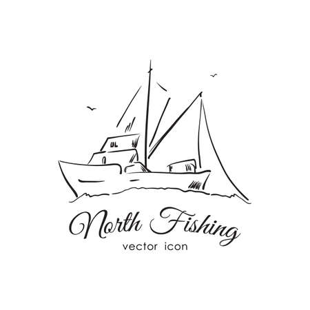 Vector illustration: Hand drawn icon with Commercial fishing boat. Line design.