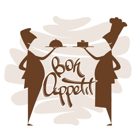 Scene with silhouette of waiter and chef with hand lettering of Bon appetit. Isolated on white background. Illusztráció