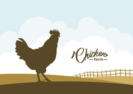 Cartoon scene with Silhouette of Cock on background of farm field.