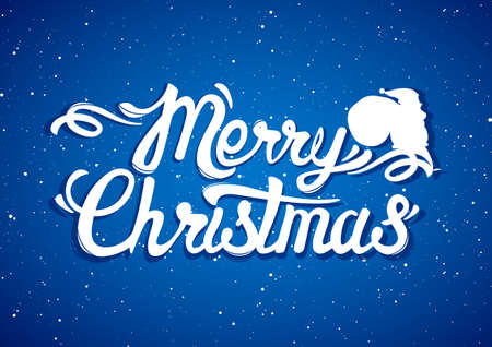 Scene with silhouette of Santa Claus sitting on the lettering of Merry Christmas.