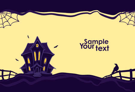 Vector illustration: Halloween background with hand drawn Haunted house and silhouette of raven on the fence.