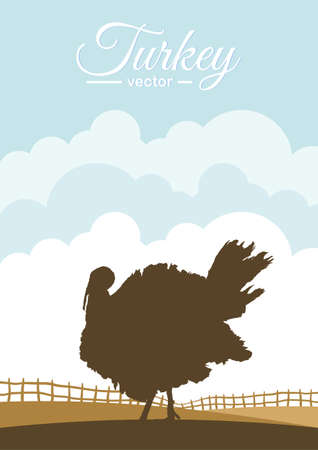 Vector illustration: Silhouette of turkey on background of farm field. Иллюстрация