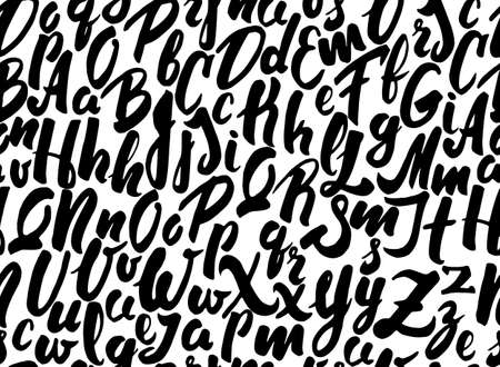 Vector illustration: Seamless background pattern with black handwritten letters of the alphabet. Illusztráció