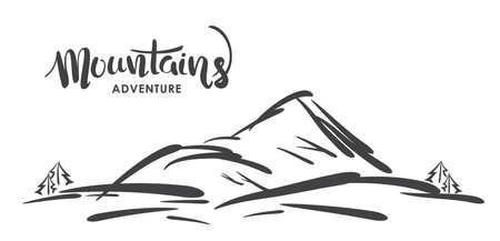 Hand drawn sketch of mountain landscape with handwritten modern lettering of Mountains Illusztráció