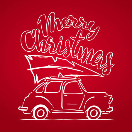 Vector illustration: Hand-drawing moving retro car with Christmas tree on the roof isolated on red background. Sketch line design. Merry christmas Ilustración de vector