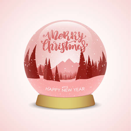 Merry Christmas and Happy New Year. Snow globe with red winter mountains landscape.