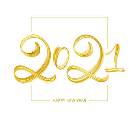 Vector Handwritten brush golden paint lettering of 2021. Happy New Year 일러스트