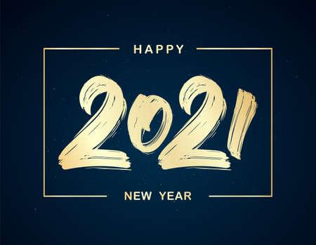 Vector Handwritten golden brush lettering of 2021 in frame on dark background. Happy New Year.