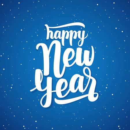 Vector illustration. Handwritten elegant modern brush lettering of Happy New Year on blue snowflakes background.