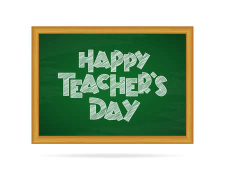 Vector illustration: chalk text of Happy Teacher's Day on blackboard backgorund