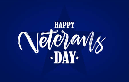 Vector Handwritten calligraphic lettering composition of Happy Veterans Day on blue background