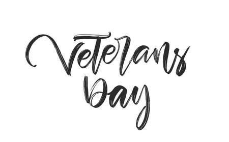 Vector Handwritten calligraphic brush ink lettering of Veterans Day