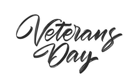 Vector Handwritten calligraphic brush type lettering of Veterans Day isolated on white background