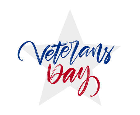 Vector Handwritten calligraphic lettering composition of Veterans Day on white background