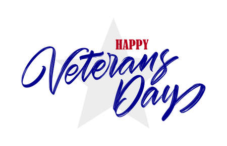 Vector Handwritten calligraphic lettering composition of Happy Veterans Day on star background
