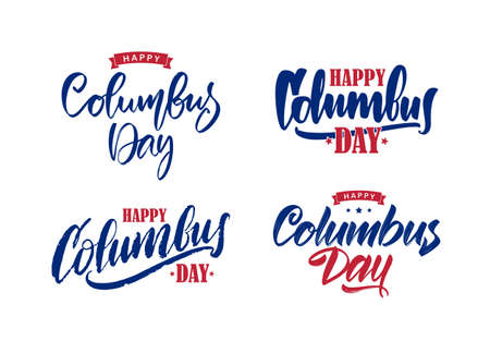 Vector illustration: Set of Handwritten Calligraphic brush type Lettering composition of Happy Columbus Day on white background.